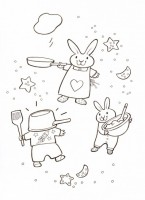 busy bunnies baking: picture to colour in
