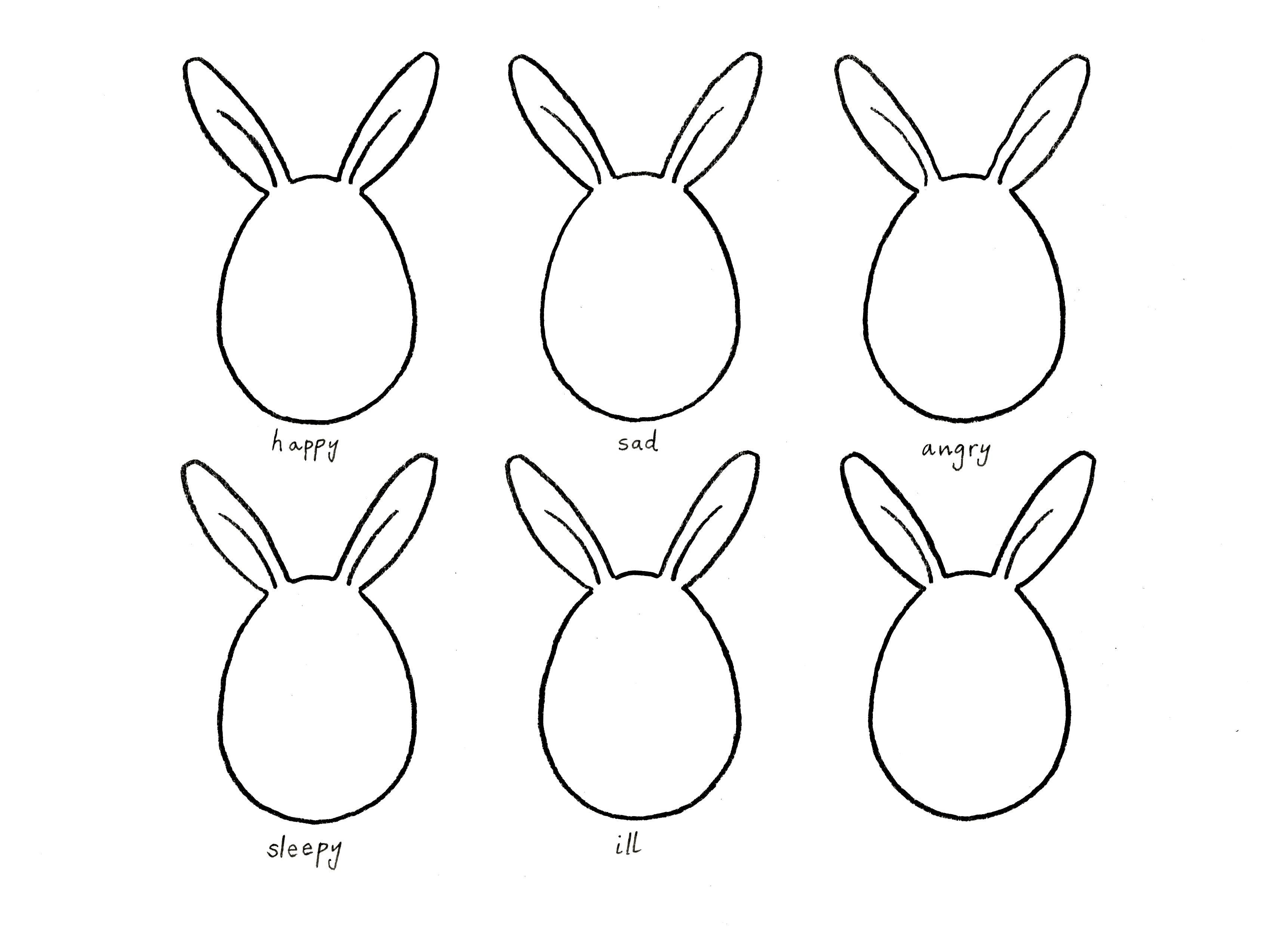 Marthas Bunny Faces Drawing Game Jpeg 3447x2498 Small Bunny Drawings
