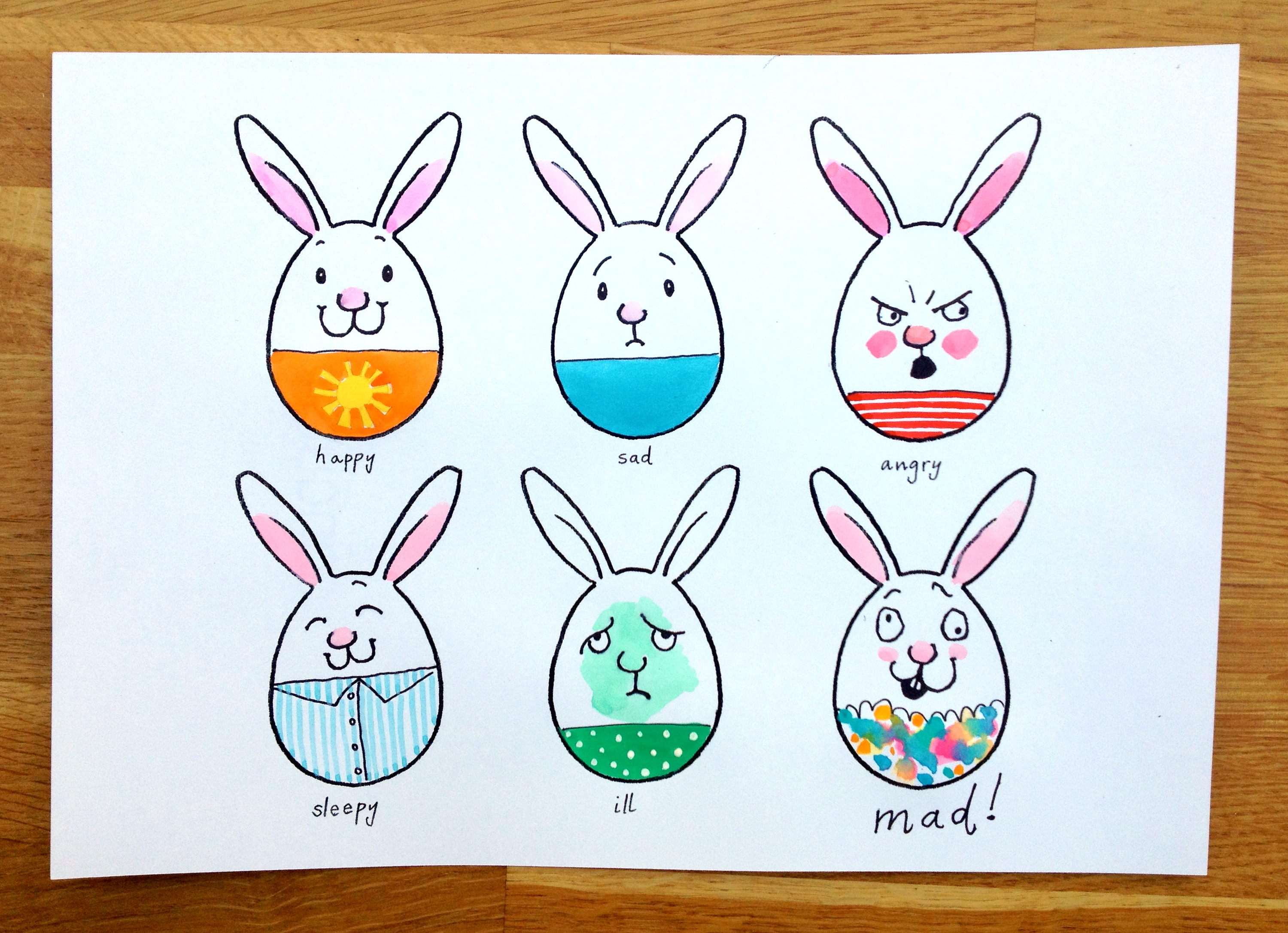 Marthas Bunny Faces Drawing Game Sunny Side Up